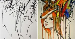 Hun tar datteren (2 år) sine tegninger og gjør de om til kunstverk. Resultatet er fantastisk!